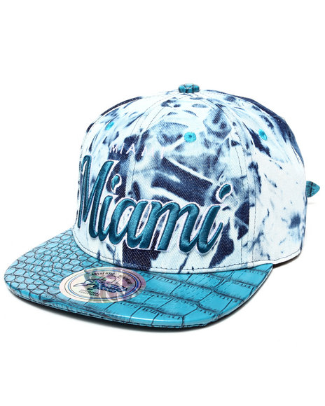 Buyers Picks Men Miami Tie Dye & Faux Leather Croc Strapback Hat Teal - $10.99