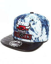 Hats - Street Bullies Tie Dye LT. Denim Crown w/ 3D Emb Croc Faux Leather visor Strapback Hat