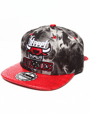 Hats - Street Bullies Tie Dye Denim Crown w/ 3D Emb Croc Faux Leather visor Strapback Hat
