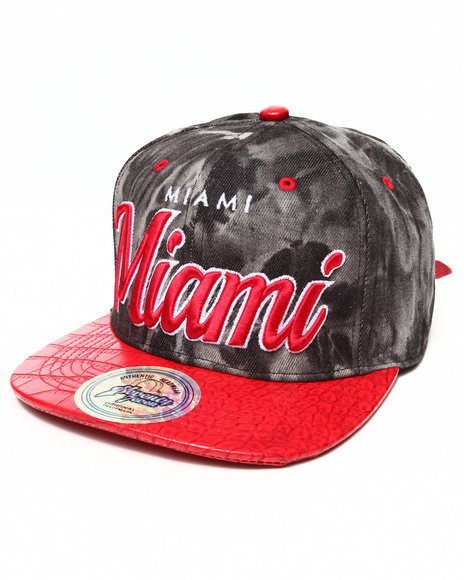 Buyers Picks Men Miami Tie Die/3D Faux Croc Strapback Hat Red - $10.99