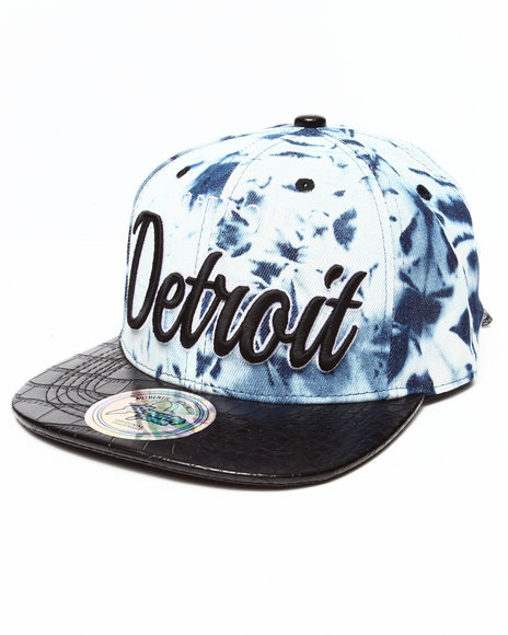 Buyers Picks Men Detroit Tie Dye & Faux Leather Croc Strapback Hat Black