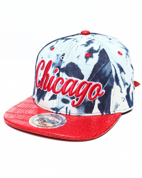 Buyers Picks Men Chicago Tie Dye & Faux Leather Croc Strapback Hat Red