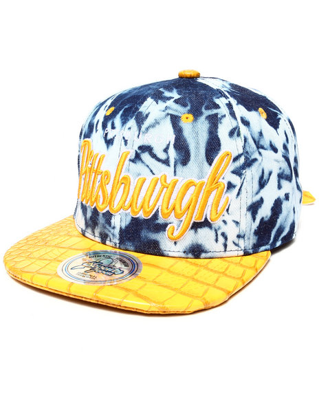 Buyers Picks Men Pittsburgh Tie Dye & Faux Leather Croc Strapback Hat Yellow - $9.99