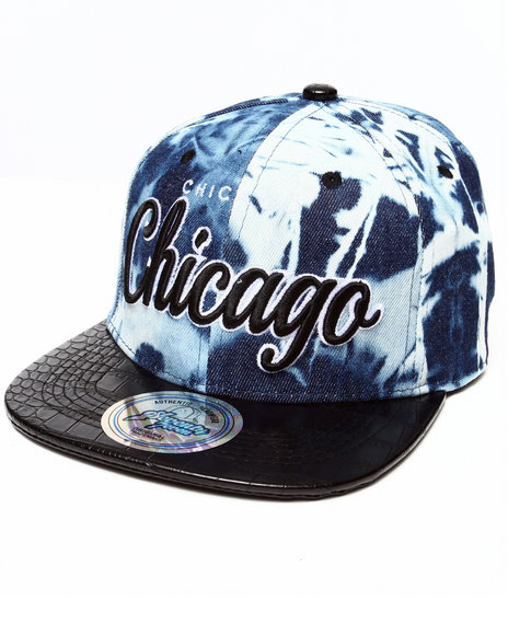 Buyers Picks Men Chicago Tie Dye & Faux Leather Croc Strapback Hat Black