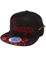 Hats - Chicago 3D Embroidery Mesh Over Snapback Hat (Side Zip Stash Pocket detail)