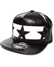 Hats - All over Faux Leather 3D Star Embroidery Snapback Hat