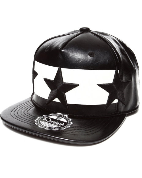 Buyers Picks Men All Over Faux Leather 3D Star Embroidery Snapback Hat Black