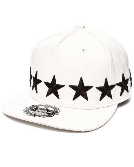 Buyers Picks Men Strapped Stars All-Over Faux Leather Snapback Hat White - $13.99