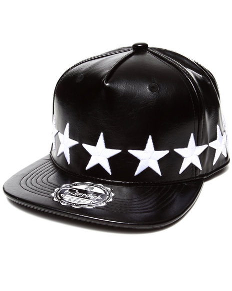 Buyers Picks Men Strapped Stars All-Over Faux Leather Snapback Hat Black