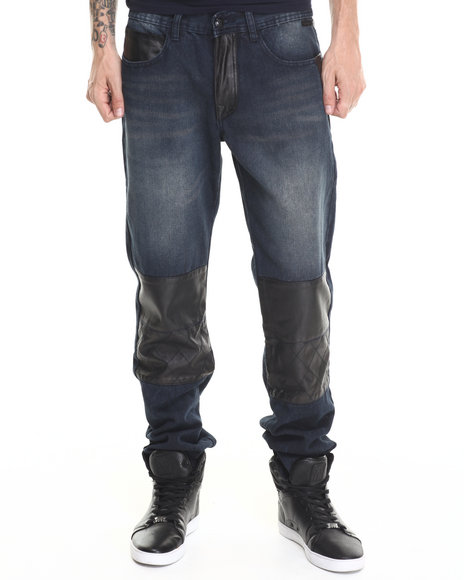 Akademiks - Sullivan Faux leather Patched Trim Denim Jeans