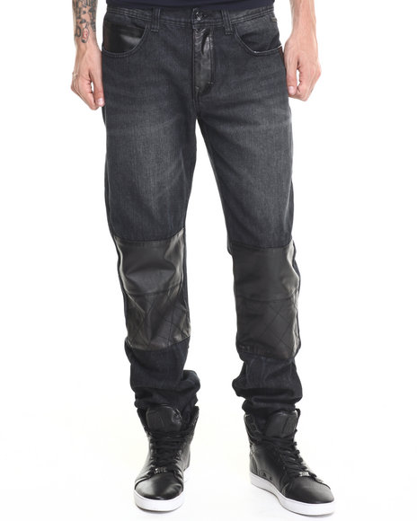 Akademiks - Men Black Sullivan Faux Leather Patched Trim Denim Jeans - $55.00