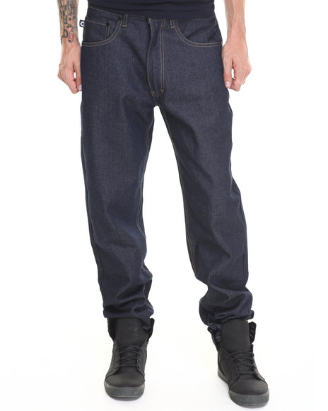 Akademiks - Men Indigo Liberty Raw Denim Jeans