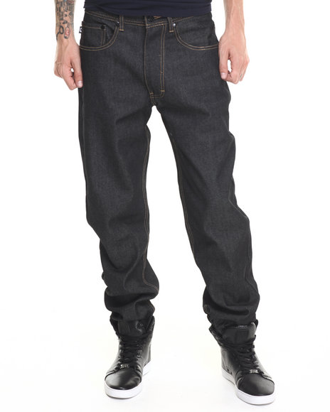 Akademiks - Men Black Liberty Raw Denim Jeans