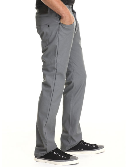 Buyers Picks - Men Grey Full Faux Leather Slim/Straight Fit Pants