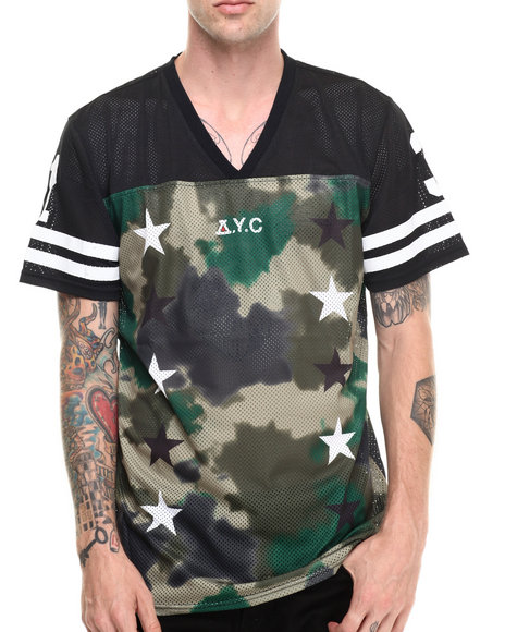 Asphalt Yacht Club - Men Camo Sky High Tie Dye Conceal Football Jersey Tee
