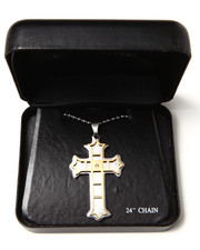 "DRJ Accessories Shoppe - Stainless Steel 24"" 2-Tone Cross Necklace"