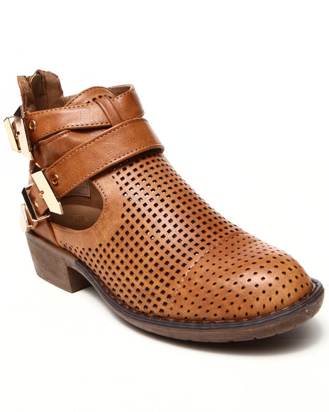 Fashion Lab - Women Tan Stoli Perforated Side Cutout Ankle Bootie