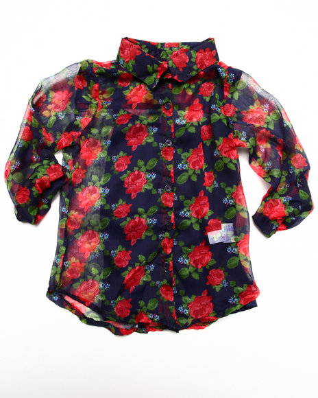 Dollhouse - Girls Blue Floral Chiffon Top (7-16)