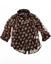 Sizes 7-16 - Big Kids - FLORAL CHIFFON TOP (7-16)