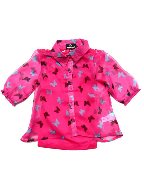 Dollhouse - Girls Pink Butterfly Chiffon Top (4-6X)