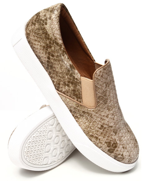 Fashion Lab - Women Beige Pivot Faux Snakeskin Slip On Sneaker - $49.00