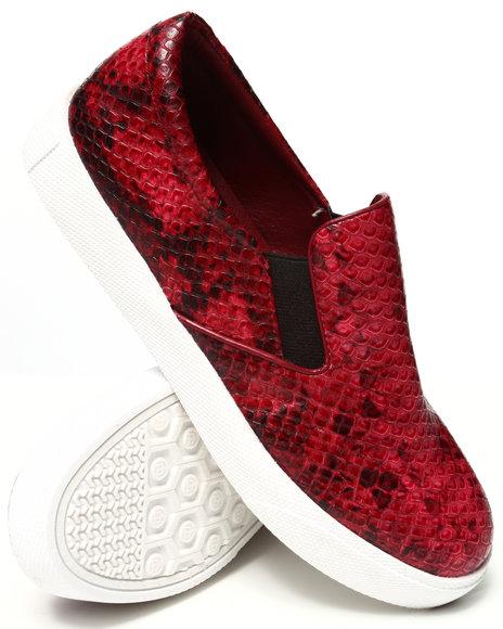Fashion Lab - Women Maroon Pivot Faux Snakeskin Slip On Sneaker