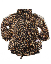 Sizes 7-16 - Big Kids - LEOPARD PRINT CHIFFON TOP (7-16)