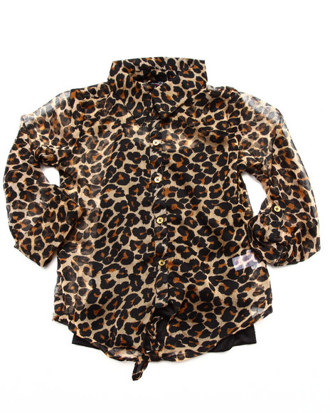 Dollhouse - Girls Animal Print Leopard Print Chiffon Top (7-16)