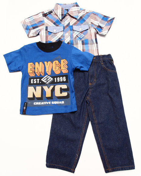 Enyce - Boys Blue 3 Pc Set - Plaid Woven, Tee, & Jeans (2T-4T)