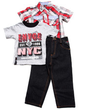 Boys - 3 PC SET - PLAID WOVEN, TEE, & JEANS (2T-4T)