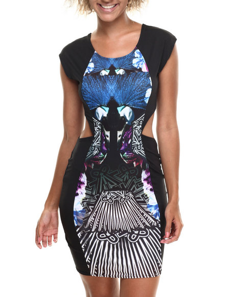 Baby Phat - Women Multi Peacock Print Cutout Dress