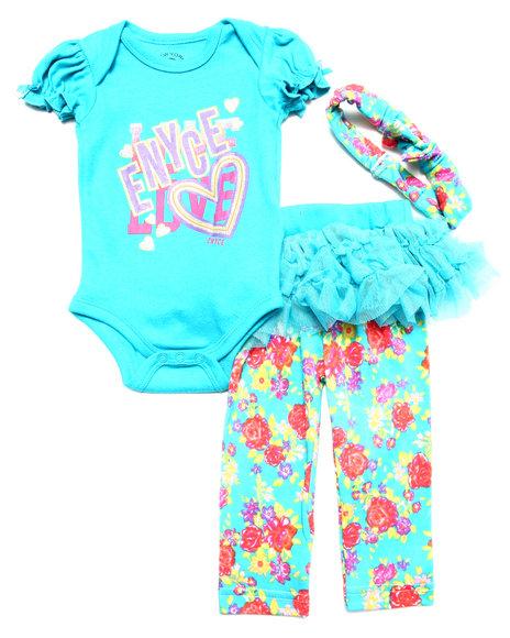 Enyce - Girls Teal 4 Pc Set - Creeper, Pants, Tutu, & Headband (Newborn)