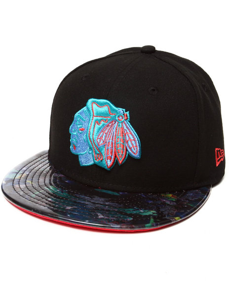 New Era - Men Black Chicago Blackhawksgalaxy Glazer 5950 Fitted Hat
