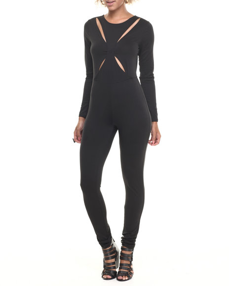 Baby Phat - Women Black Sexy X-Front Zip Back Jumper