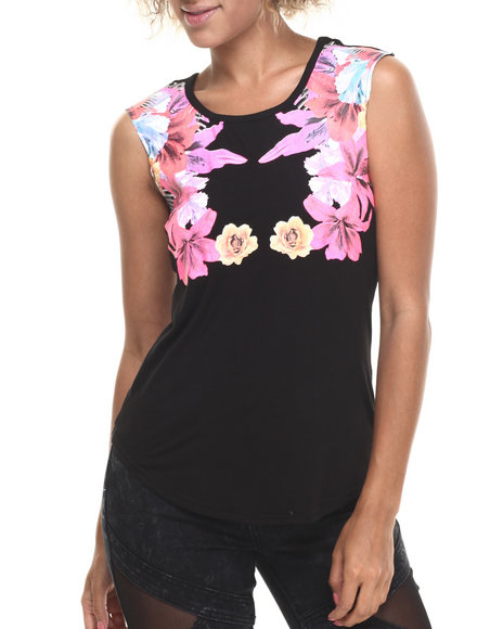 Baby Phat - Women Black Floral Placement Print Tee