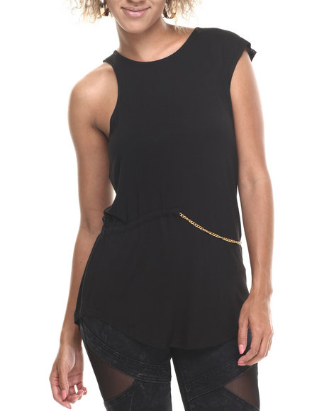 Baby Phat - Women Black Chain Trim Sexy Arms Top