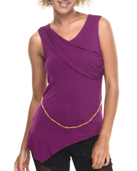 Baby Phat - Women Purple Asymmetrical Hem Top