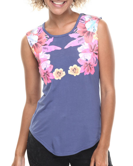 Baby Phat - Women Navy Floral Placement Print Tee
