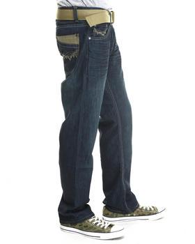 Basic Essentials - Slash - Stitch Belted Denim Jeans