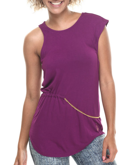 Baby Phat - Women Purple Chain Trim Sexy Arms Top