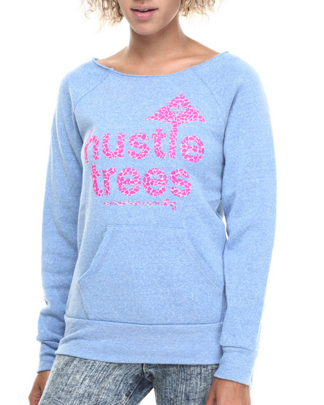 Lrg - Women Blue Hustle Trees Raw Crewneck Sweatshirt