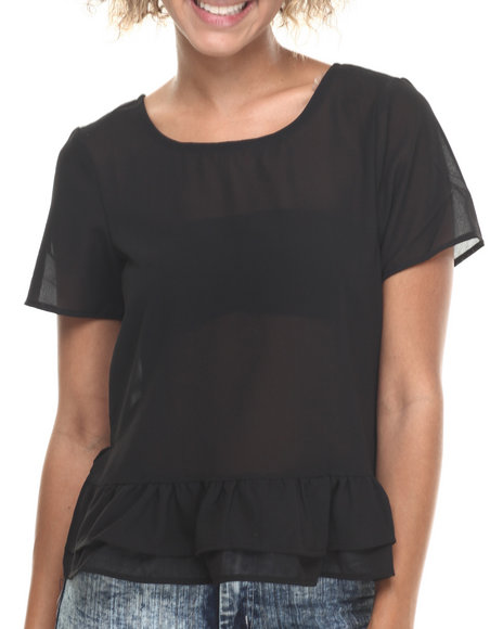 Ali & Kris - Women Black Ruffle Hem Chiffon Short Sleeve Top - $3.99