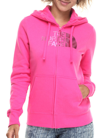 The North Face - Women Pink Half Dome Full Zip Hoodie