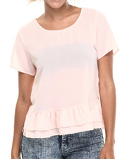 Tops - Ruffle Hem Chiffon Short Sleeve Top
