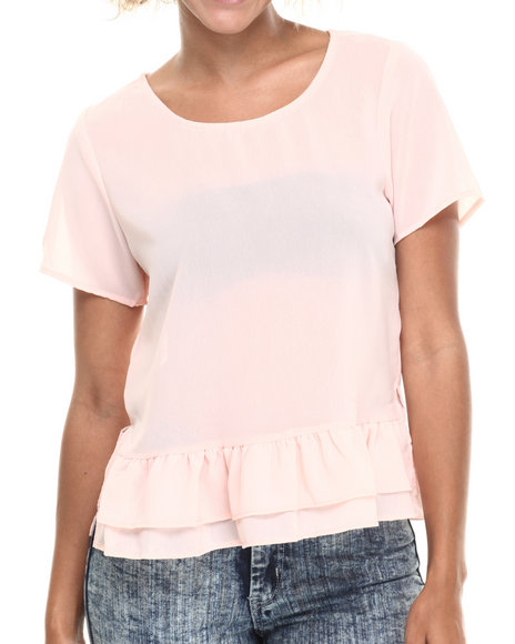 Ali & Kris - Women Cream Ruffle Hem Chiffon Short Sleeve Top - $13.99