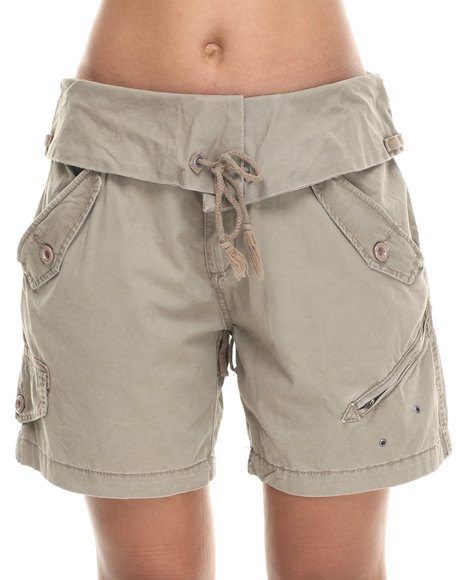 Djp Outlet - Women Olive Blank Nyc Foldover Waistband Shorts - $26.99