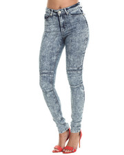 Bottoms - Acid Wash Moto Skinny Jean