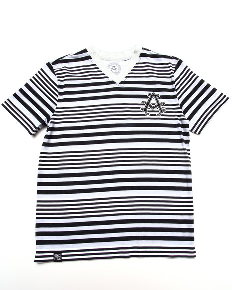 Akademiks - Boys Black Stripe V-Neck Tee (8-20) - $16.99