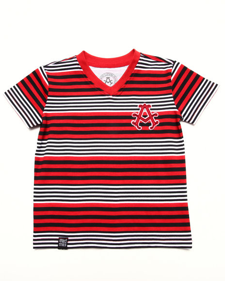 Akademiks - Boys Red Stripe V-Neck Tee (2T-4T)