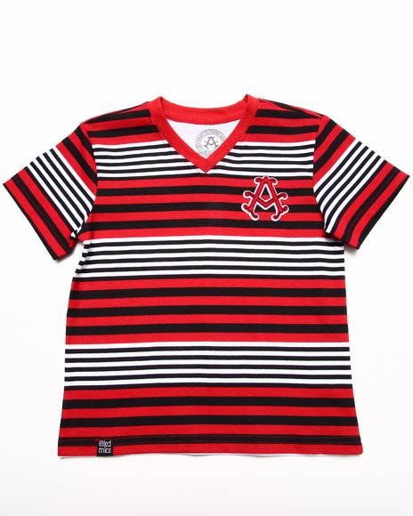 Akademiks - Boys Red Stripe V-Neck Tee (4-7)